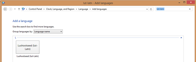 Searching for Lushootseed in the language Control Panel