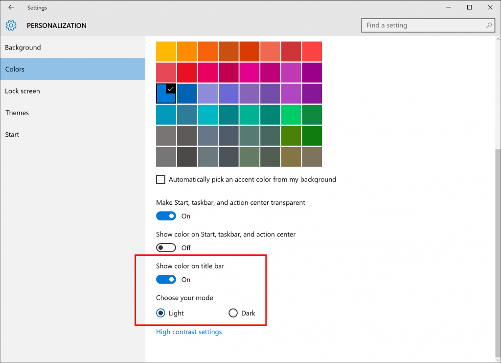 New Personalization Settings in Windows 10