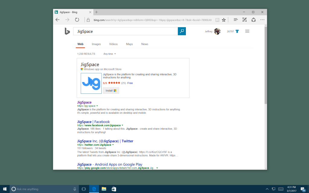 """Screen capture showing Bing search results for JigSpace, featuring the """"Jig.Space"""" Windows App featured in the search results."""