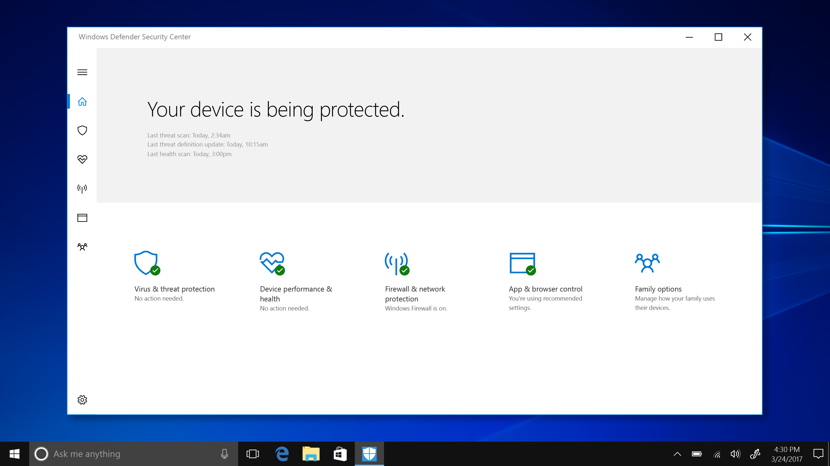 Windows Defender Security Center shown on Windows 10 S