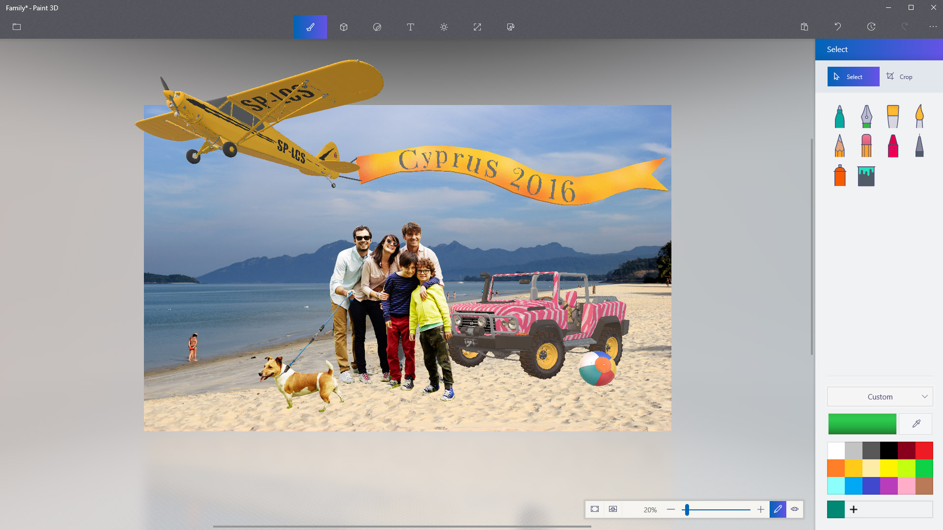 Family photo being cropped with Magic Select tool in Paint 3D