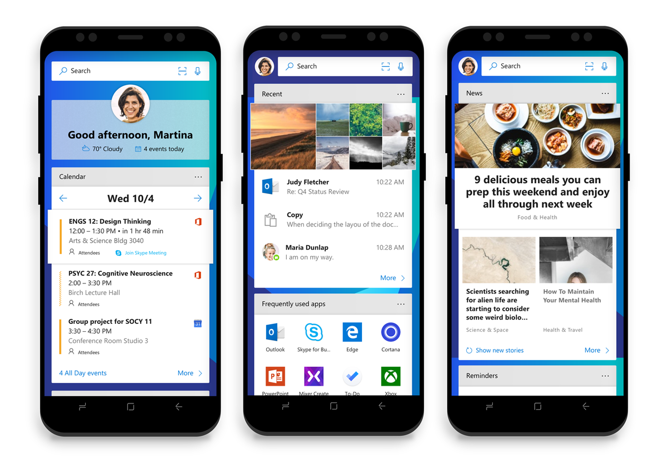 Microsoft Launcher Feed shown on three Android Phones