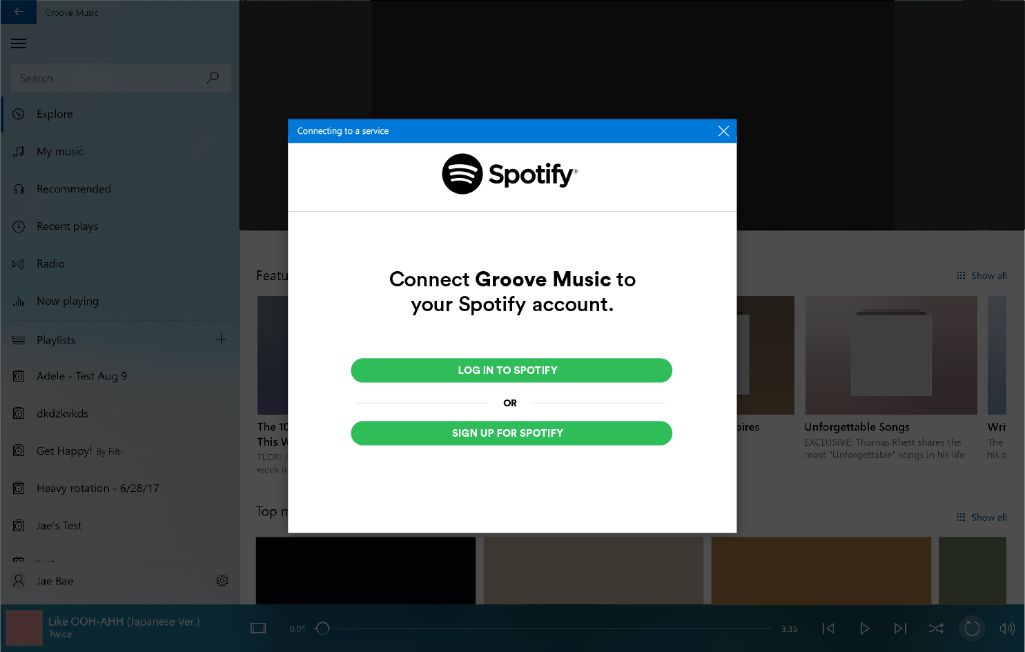 Prompt asking users to connect Groove Music to their Spotify account by signing into Spotify or creating a new Spotify account.