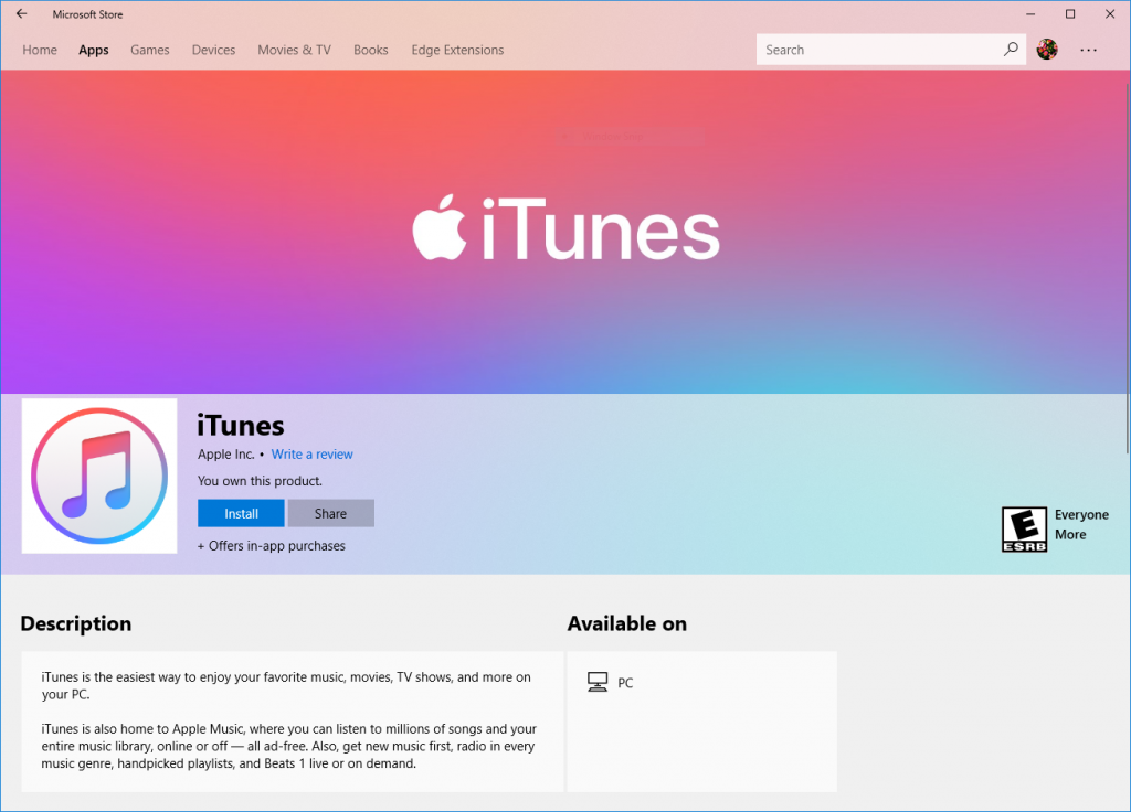 iTunes product page in Microsoft Store