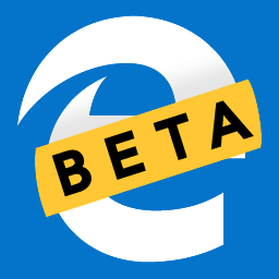 "The Microsoft Edge icon with text saying ""BETA"" across it."