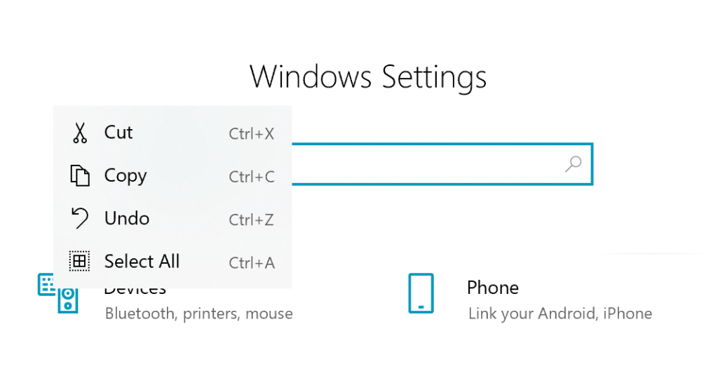 "Windows Settings search box, the text ""test"" has been selected and right clicked, showing a commanding menu with cut/copy/undo/select all with both icons and informational hotkeys."