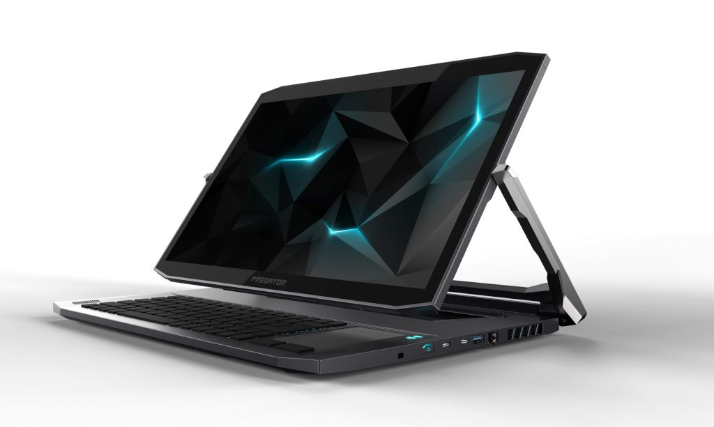 Acer Predator Triton 900 with laptop hinge bringing screen angled over keyboard