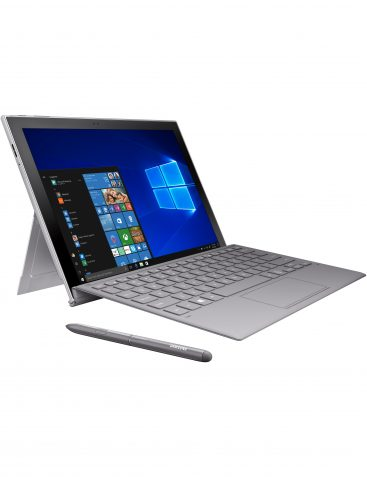 Samsung Galaxy Book2, open and facing right with included pen and keyboard