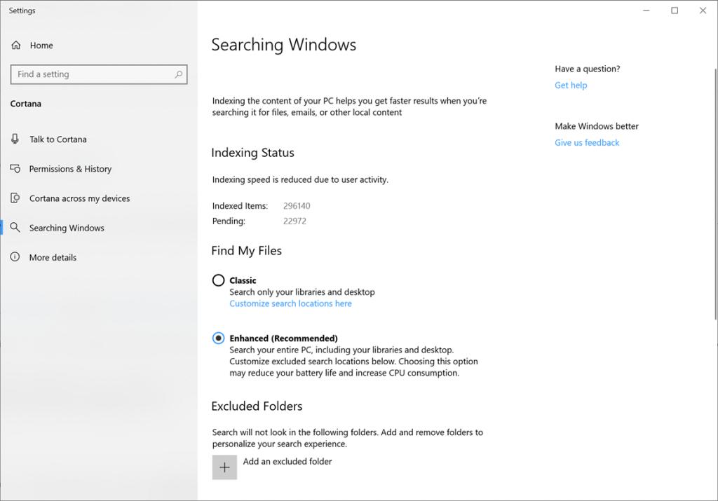 Per migliorare la nostra indicizzazione di ricerca, abbiamo creato una nuova funzionalità chiamata Trova i miei file che consente a Windows di cercare tutte le tue cartelle e unità, invece di limitare la ricerca ai tuoi documenti, immagini, video e desktop per impostazione predefinita.