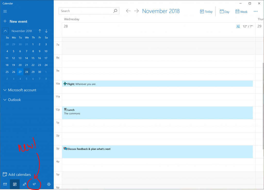 Pointing out the new To-Do button in Calendar.