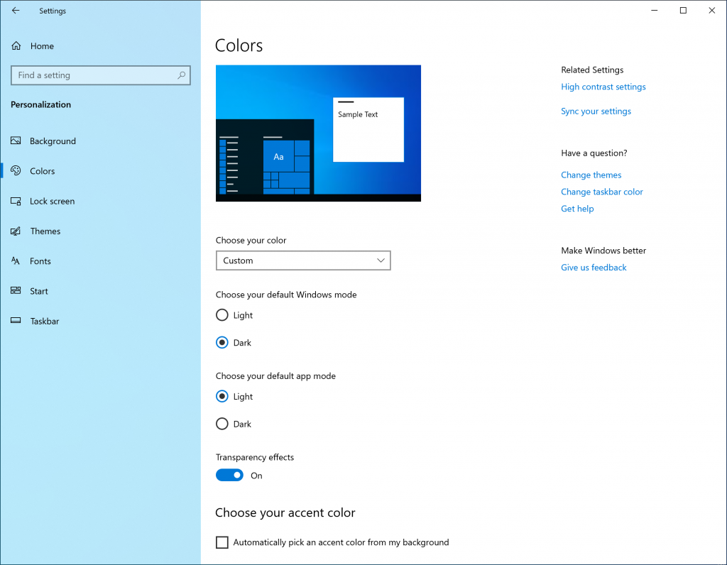"Showing Color Settings with Custom selected in the ""Choose your color"" dropdown, and a new separation between Windows mode and app mode"