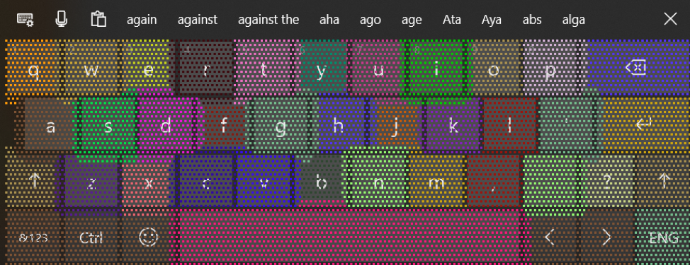 Showing the keyboard's underlying heatmap.