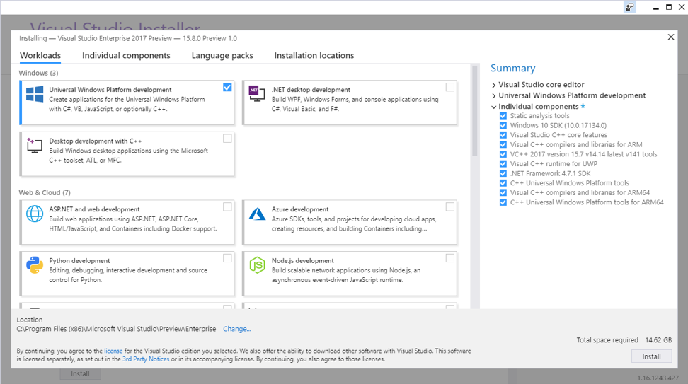 Early preview Visual Studio support for Windows 10 on ARM