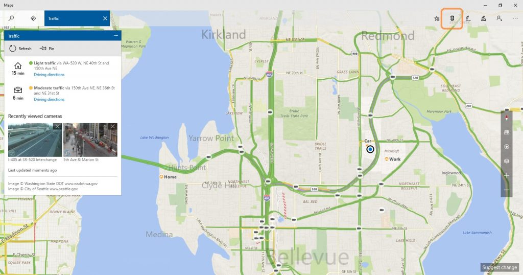 7. See driving commute times to home and work and traffic cameras in one place