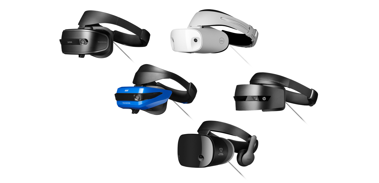 Collage of Windows Mixed Reality headsets including, HP, Dell, Lenovo, Acer and Samsung