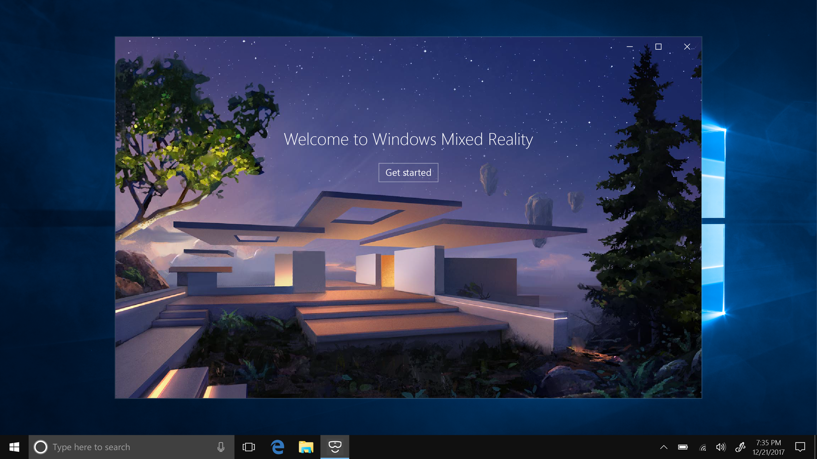 Welcome to Windows Mixed Reality welcome screen running on Windows 10