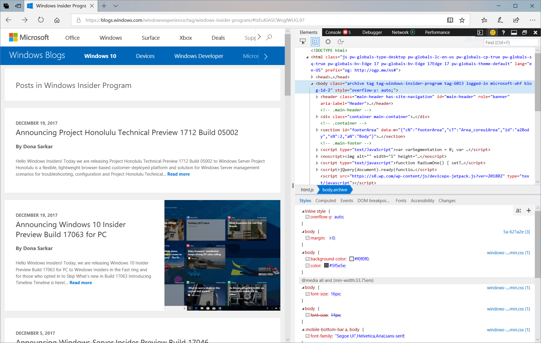 Announcing windows 10 insider preview build 17074 for pc windows screen capture showing the microsoft edge devtools docked to the right of a web page ccuart Images