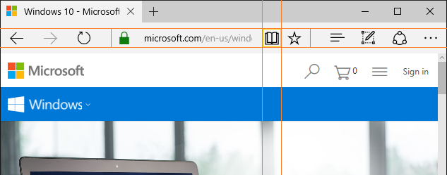 Screen capture of the Reading Mode button in Microsoft Edge