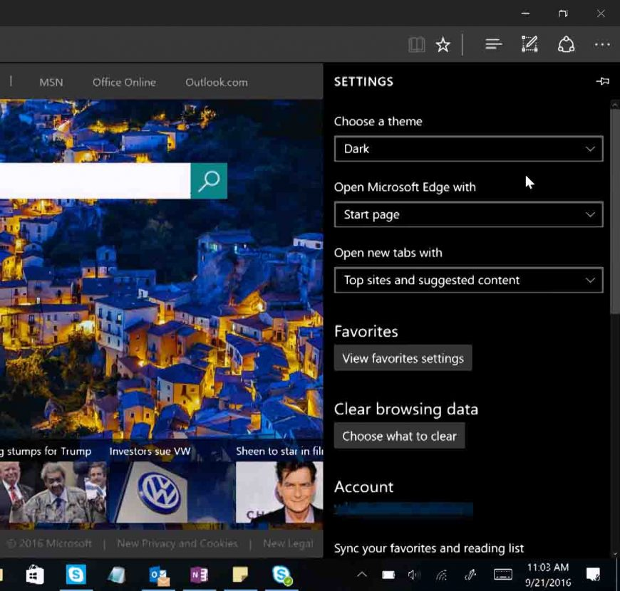 Enable the dark theme in Microsoft Edge