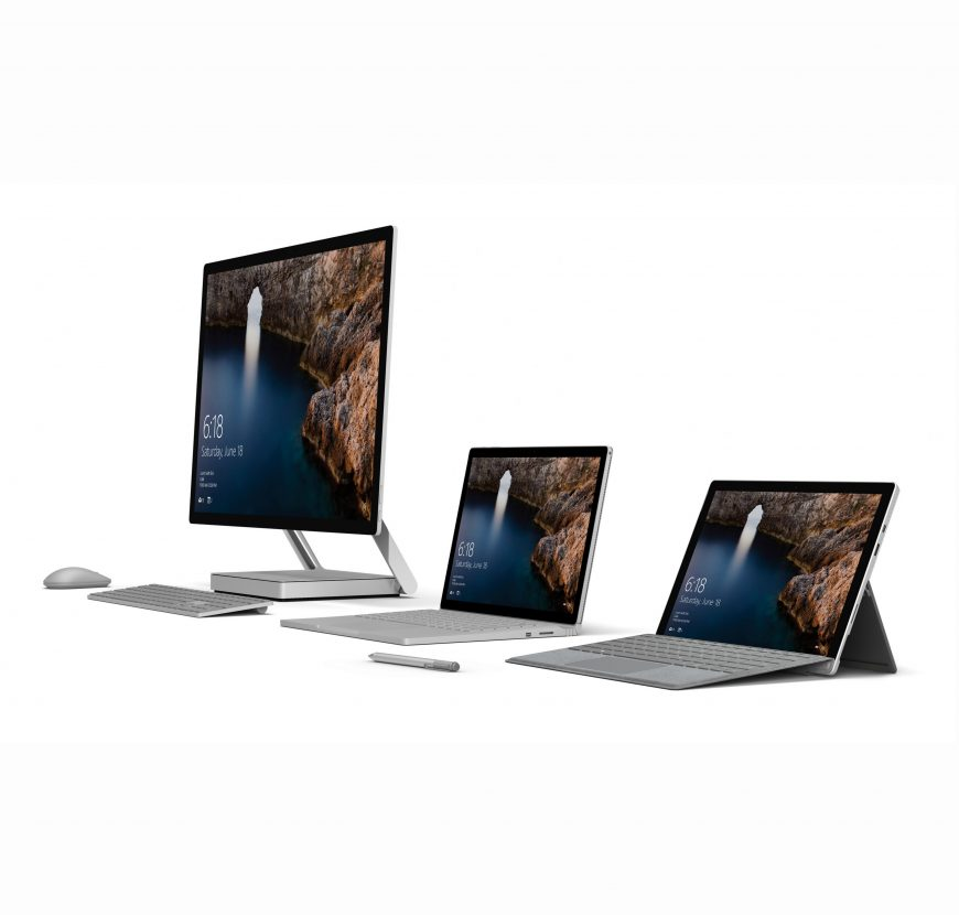 Surface family of devices including Surface Studio, Surface Book and Surface Pro 4