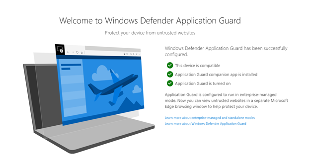 Windows Defender Application Guard landing page