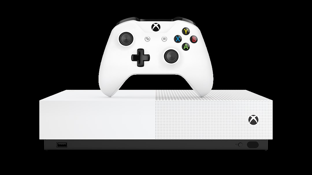 Xbox One S All-Digital Edition console and controller in white