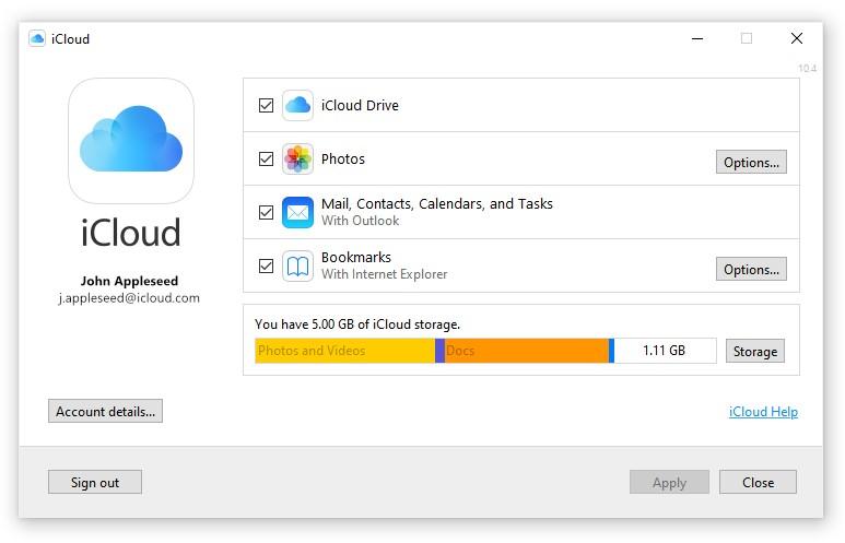 Screenshot of iCloud Drive