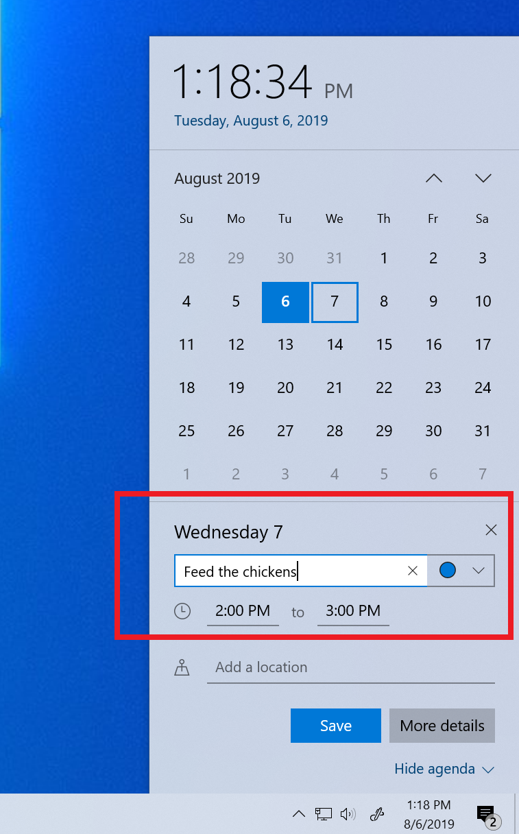 Add events directly from the Calendar flyout on your Taskbar!