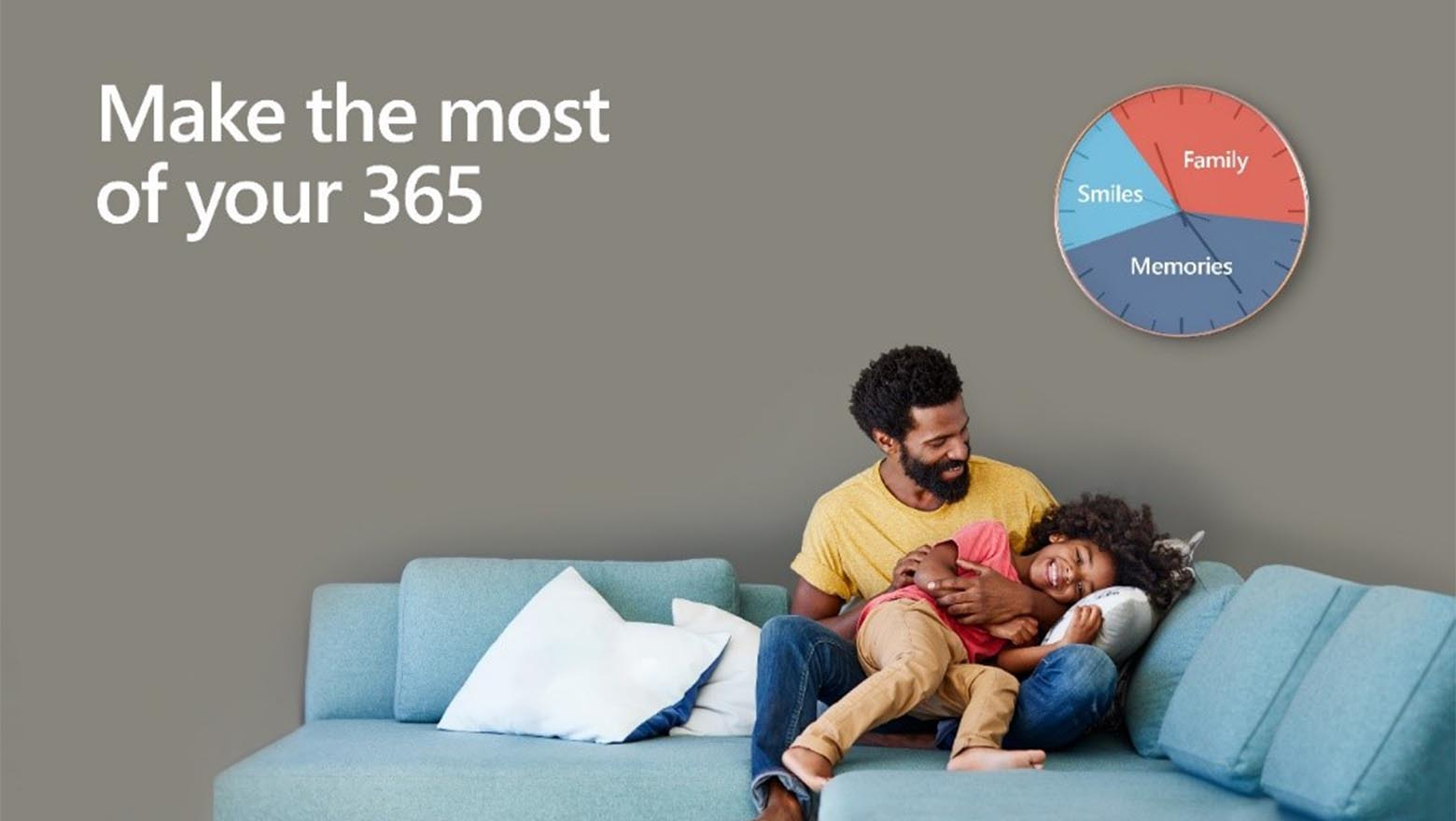 "Father and son on couch with ""Make the most of your 365"" above them"
