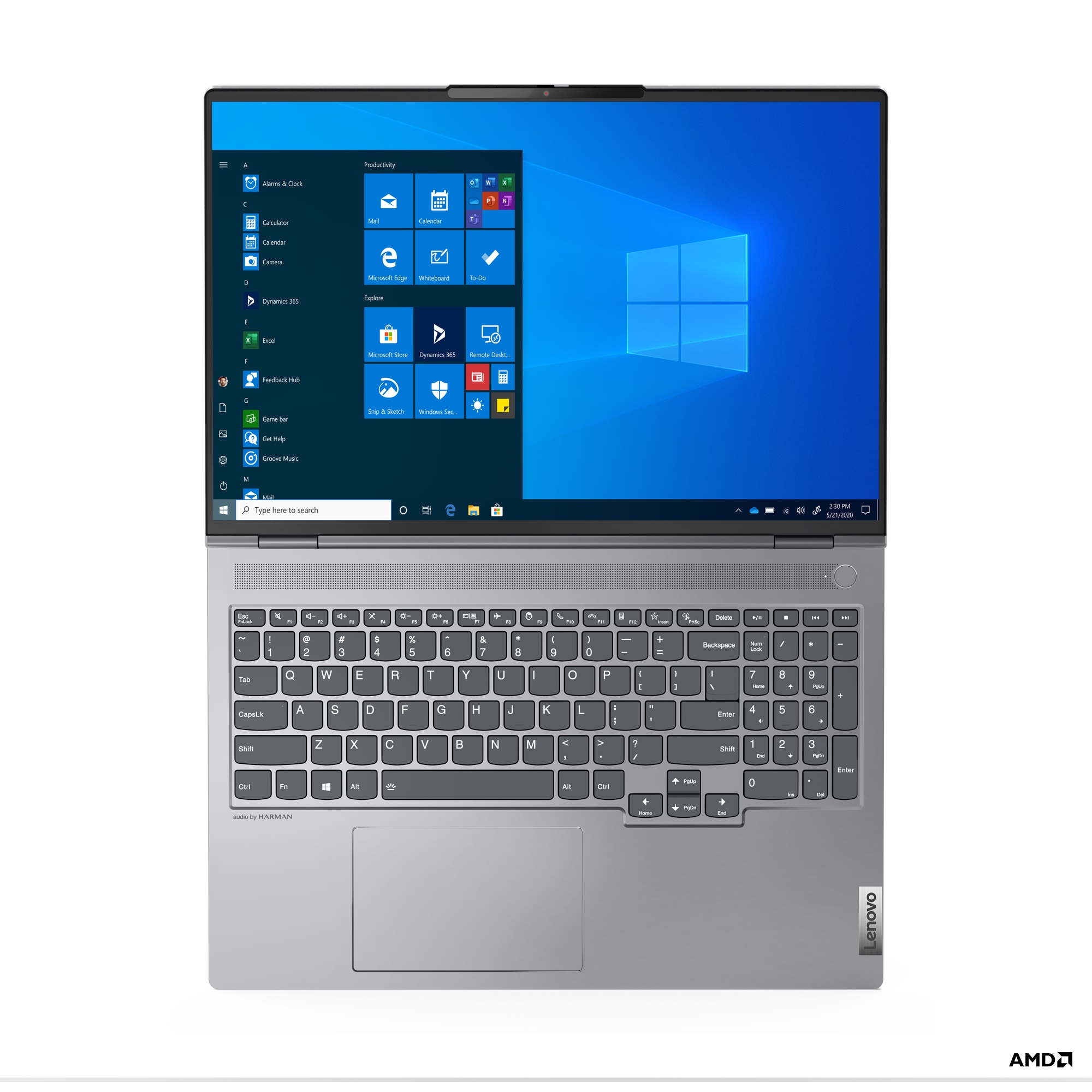 Birdseye view of Lenovo ThinkBook 16p with Windows Start on its screen