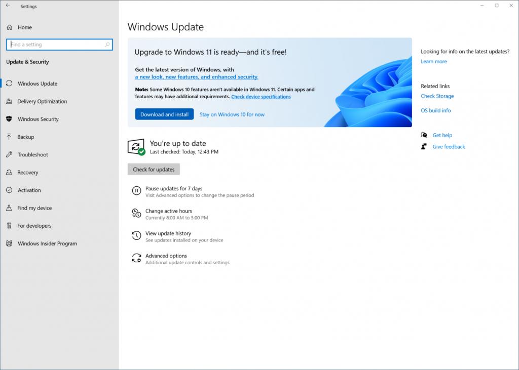 Windows Update user interface
