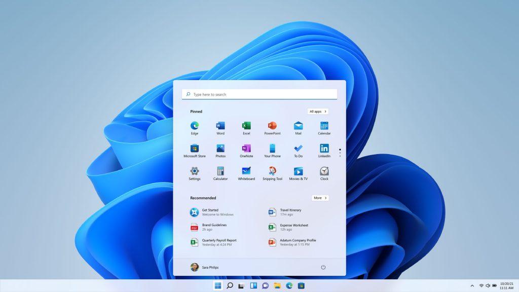 Windows 11 Start screen