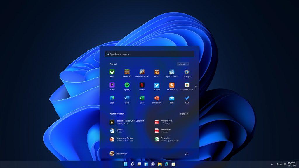 Dark Windows 11 start screen