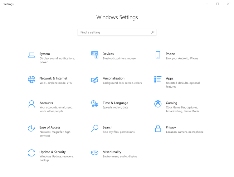 Windows Settings Page