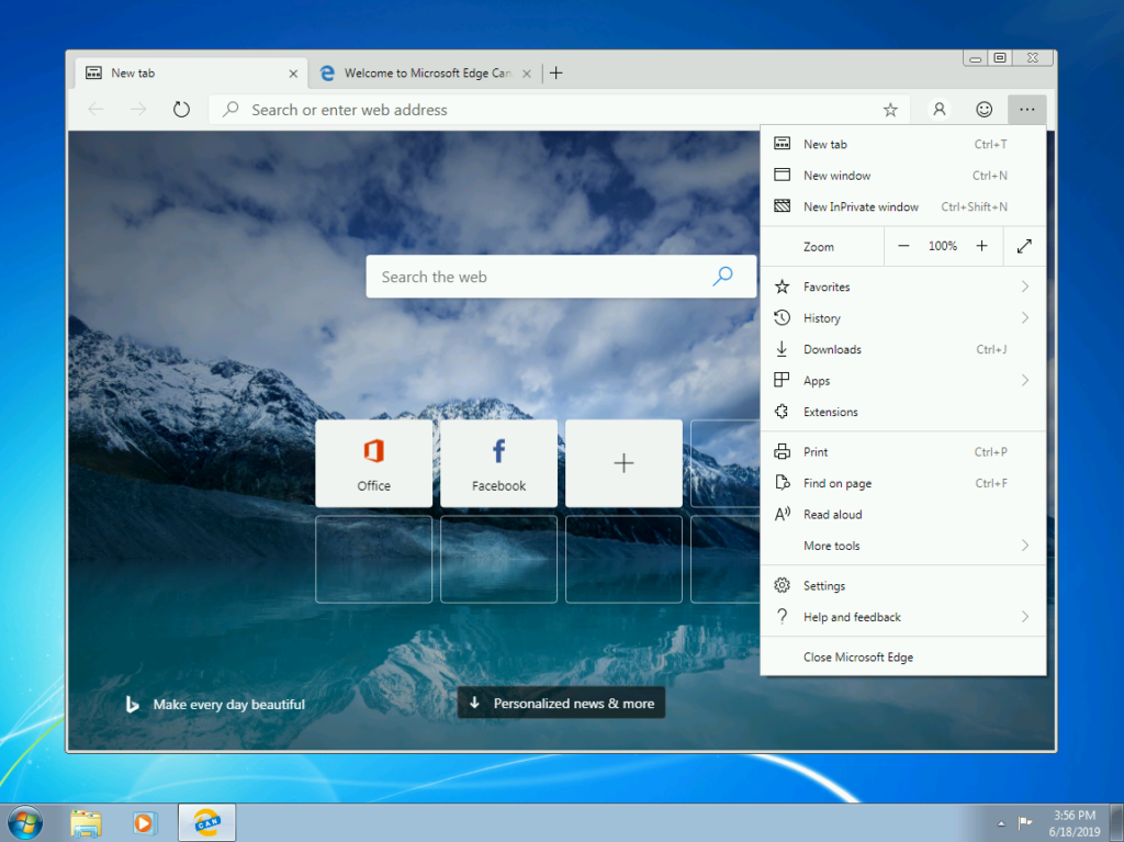 Screen capture showing Microsoft Edge Canary running on Windows 7