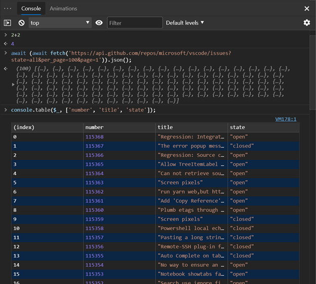 Console screenshot showing an array expanded into an easily viewable table