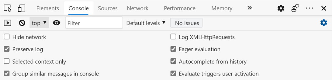 """""""Preserve log"""" checkbox is checked in the Console settings tray."""