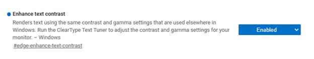 """Enhance text contrast"" flag in edge://flags"