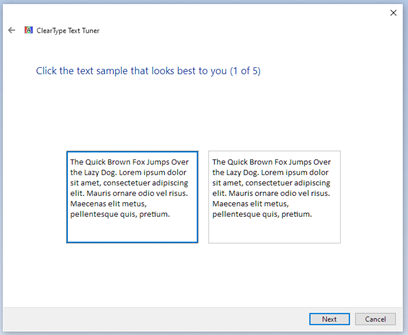 Screen capture of ClearType Text Tuner