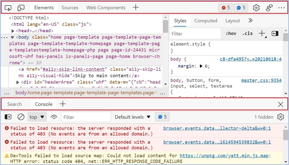 DevTools with the two available tab bars highlighted