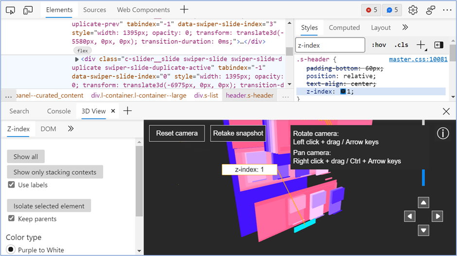 DevTools with Elements and 3D View panels open simultaneously