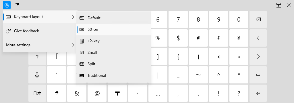 Enabling the new 50-on touch keyboard.