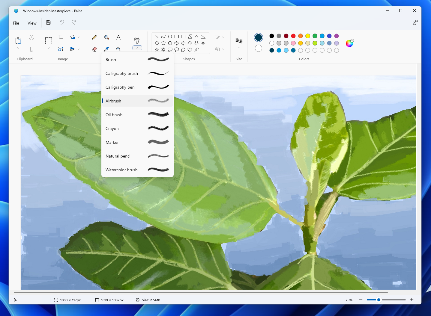 The new drop-down menu for brushes features a dynamic icon that changes depending on which brush you have chosen.